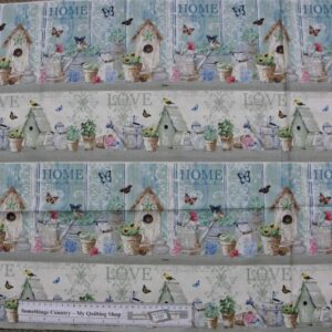 Patchwork Quilting Sewing Fabric DREAM GARDEN Birdhouse Love Border Panel 60x110cm