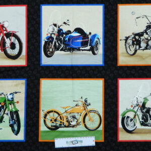 Patchwork Quilting Sewing Fabric OPEN ROAD MOTORBIKES Panel 60x110cm New