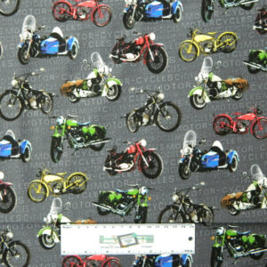 Quilting Patchwork Sewing Fabric OPEN ROAD MOTORBIKES 50x55cm FQ New Material