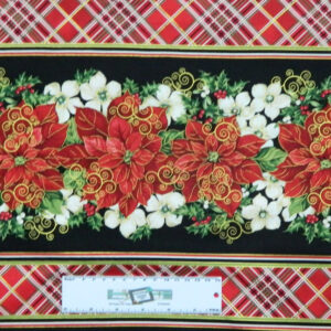 Quilting Patchwork Sewing Fabric RED XMAS FLOWERS BORDER 50x55cm FQ New