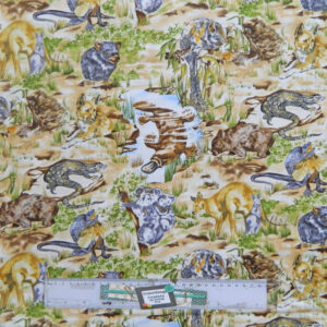 Quilting Patchwork Sewing Fabric AUSTRALIAN WILDLIFE KOALA 50x55cm FQ New