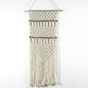 French Country Vintage Inspired Wall Art MACRAME Wall Hanging Handmade with Beads New