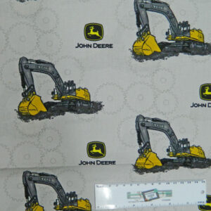 Patchwork Quilting Fabric JOHN DEERE DIGGERS WHITE Cotton FQ 50X55cm NEW Material
