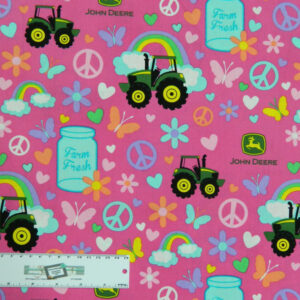 Patchwork Quilting Fabric JOHN DEERE PINK PEACE TRACTOR Cotton FQ 50X55cm NEW