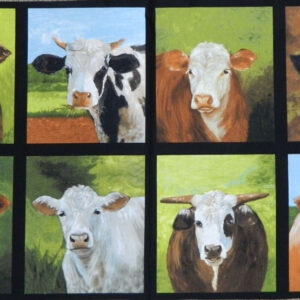 Patchwork Quilting Sewing Fabric BEEF CATTLE COWS BULLS Panel 60x110cm New Material