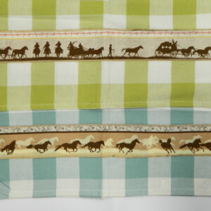Country Style Fawn BLUE GREEN New Tea Towels Set of 2 HORSE STAGE Handmade Teatowels NEW