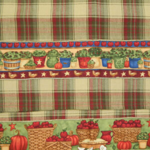 Country Style CHECKS New Tea Towels Set of 2 APPLES Handmade Teatowels NEW