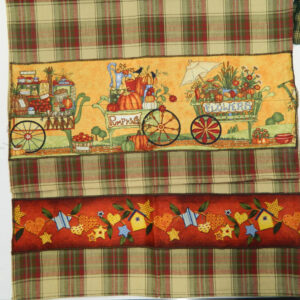 Country Style CHECKS New Tea Towels Set of 2 GARDEN CART Handmade Teatowels NEW