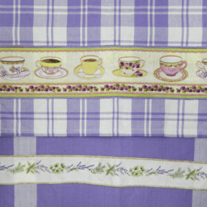 Country Style LAVENDAR New Tea Towels Set of 2 TEACUPS LAVENDER Handmade Teatowels NEW