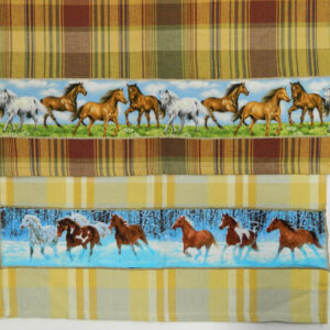 Country Style Checks New Tea Towels Set of 2 BLUE HORSES Handmade Teatowels NEW
