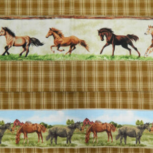 Country Style MUSTARD New Tea Towels Set of 2 HORSES 2 Handmade Teatowels NEW