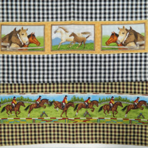 Country Style GINGHAM CHECKS New Tea Towels Set of 2 HORSES Handmade Teatowels NEW