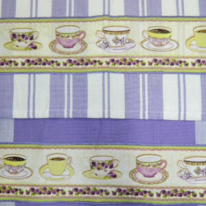 Country Style Lavender New Tea Towels Set of 2 LAVENDAR CUPS Handmade Teatowels