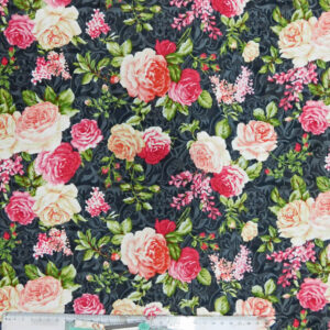 Quilting Patchwork Sewing Fabric ROSES ON BLACK Cotton Material 50 x 55 cm FQ NEW