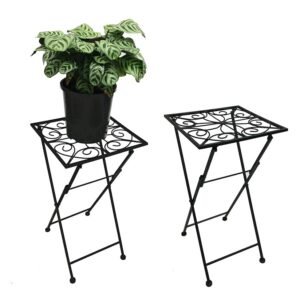 French Country Vintage Inspired Wrought Iron BLACK Side Table Pot Plant Holder NEW
