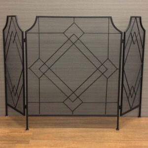 French Country Vintage Inspired Wrought Iron Folding BLACK FIREPLACE SCREEN New