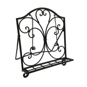 French Country Vintage Inspired Wrought Iron Folding BLACK RECIPE BOOK STAND New