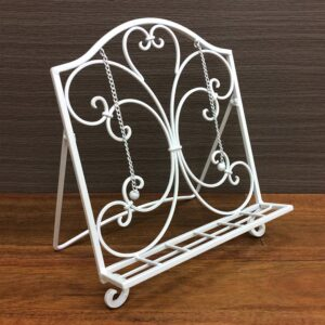 French Country Vintage Inspired Wrought Iron Folding WHITE RECIPE BOOK STAND New
