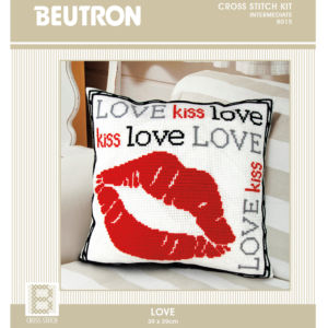 BEUTRON Cross Stitch Counted X Stitch KIT LOVE LIPS Finished Size 39x39cm New