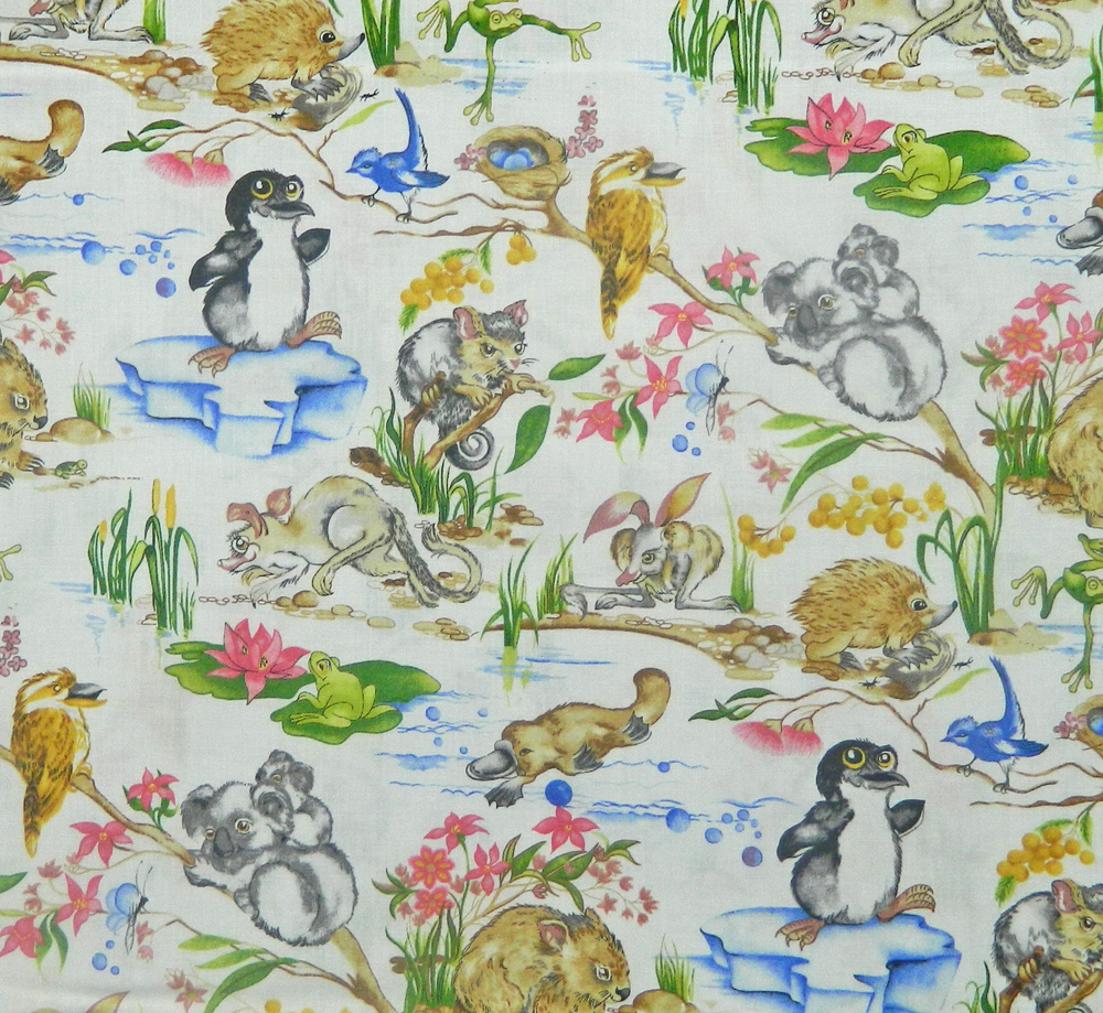 Patchwork quilting sewing fabric australian baby animals
