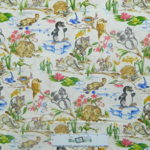 Patchwork Quilting Sewing Fabric AUSTRALIAN BABY ANIMALS 50x55cm FQ New