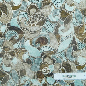 Patchwork Quilting Sewing Fabric BLUE BROWNS FLORAL Material 50x55cm FQ New