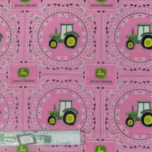 Patchwork Quilting Sewing Fabric PINK JOHN DEERE Cotton Material Panel 41x110cm New
