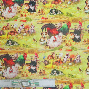 Patchwork Quilting Sewing Fabric FARMYARD FRIENDS CHOOKS Material 50x55cm FQ New