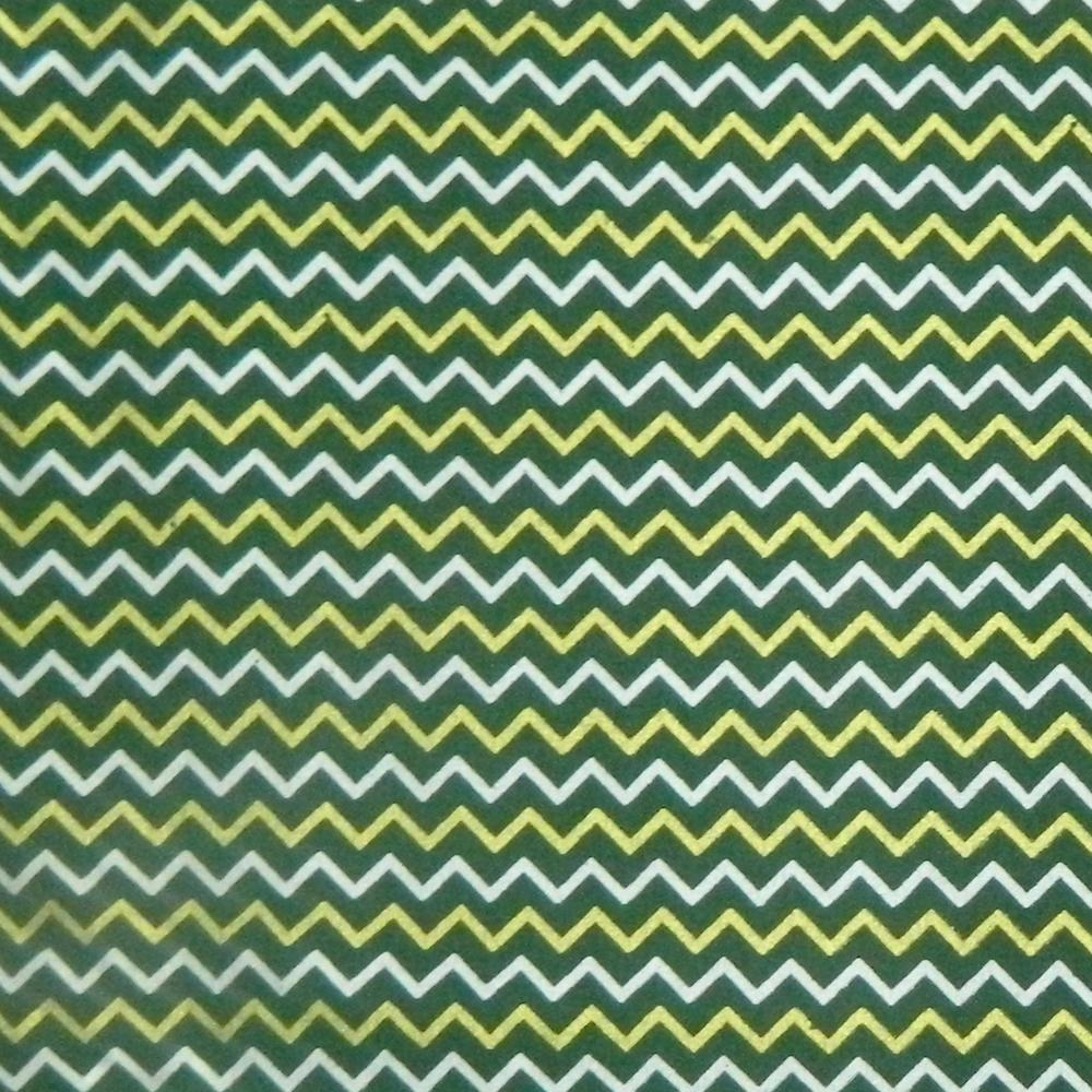 Quilting Sewing Fabric CHEVRON GREEN METALLIC GOLD 50x55cm FQ New