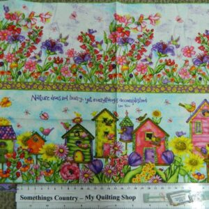 BIRDHOUSE-GARDENS-Borders-Patchwork-Quilting-Sewing-Fabric-Panel-30x110cm-2rows-161845333462
