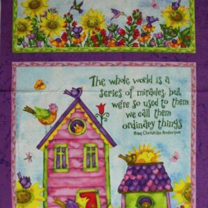BIRDHOUSE-GARDENS-Debi-Hron-Lg-Patchwork-Quilting-Sewing-Fabric-Panel-60x110cm-111787039525