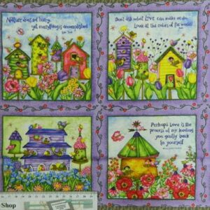 BIRDHOUSE-GARDENS-Squares-Patchwork-Quilting-Sewing-Fabric-Panel-30x110cm-2rows-111787044329