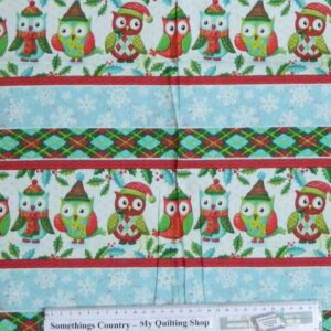 CHRISTMAS-OWLS-Border-Patchwork-Quilting-Sewing-Cotton-Fabric-Panel-40x110cm-New-111787731149