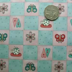 COUNTRY-QUILTING-FABRIC-Blue-checks-hearts-cups-butterflies-FQ-50x55cm-161144753331