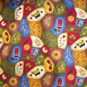 COUNTRY-QUILTING-FABRIC-CRAZY-PATCH-ALLOVER-FOLKART-FQ-160550875348