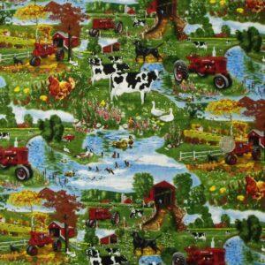 COUNTRY-QUILTING-FABRIC-Farmall-Farm-Fat-Quarter-50x55cm-New-also-per-metre-160996901217