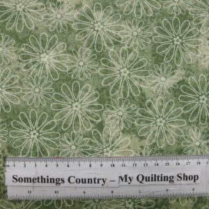 COUNTRY-QUILTING-FABRIC-Flower-Power-Khaki-Green-Floral-Fat-Quarter-50x55cm-161576667949