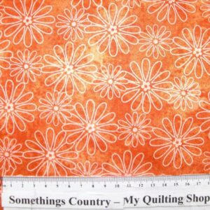 COUNTRY-QUILTING-FABRIC-Flower-Power-Orange-Floral-Fat-Quarter-50-x-55cm-New-111584372094