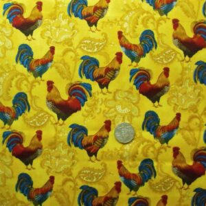 COUNTRY-QUILTING-FABRIC-Gold-Roosters-allover-Fat-Quarter-50x55cm-161097471568