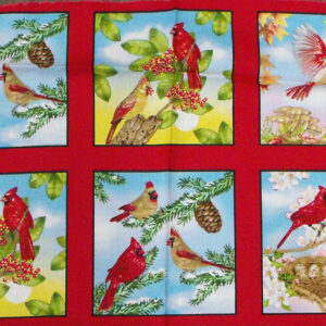 COUNTRY-QUILTING-FABRIC-PANEL-BIRDS-2-ROWS-14-SQUARES-IN-ALL-30-X-110CM-110754091375