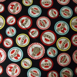 COUNTRY-QUILTING-FABRIC-Sock-Monkey-Fat-Quarter-50x55cm-New-also-per-metre-111040326267
