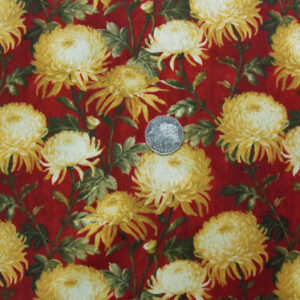 COUNTRY-QUILTING-PANEL-SILK-GARDEN-RED-FLORAL-DAHLIA-FQ-160576203251