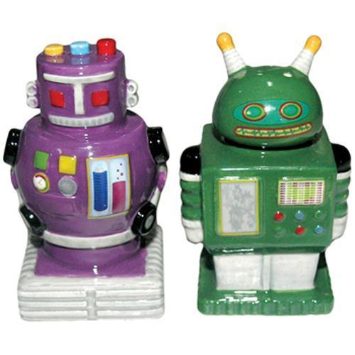 Collectable novelty salt pepper set robots 2 colours set Salt and pepper robots