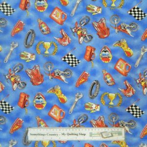 Country-Patchwork-Quilting-Cotton-Fabric-MOTORBIKE-MOTORCROSS-BL-Sewing-50x55-FQ-161925057362