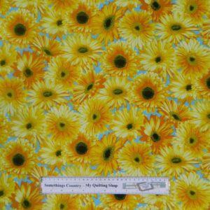 Patchwork Quilting Sewing Fabric SUNFLOWERY SPRING DAY Cotton 50x55 FQ New Material