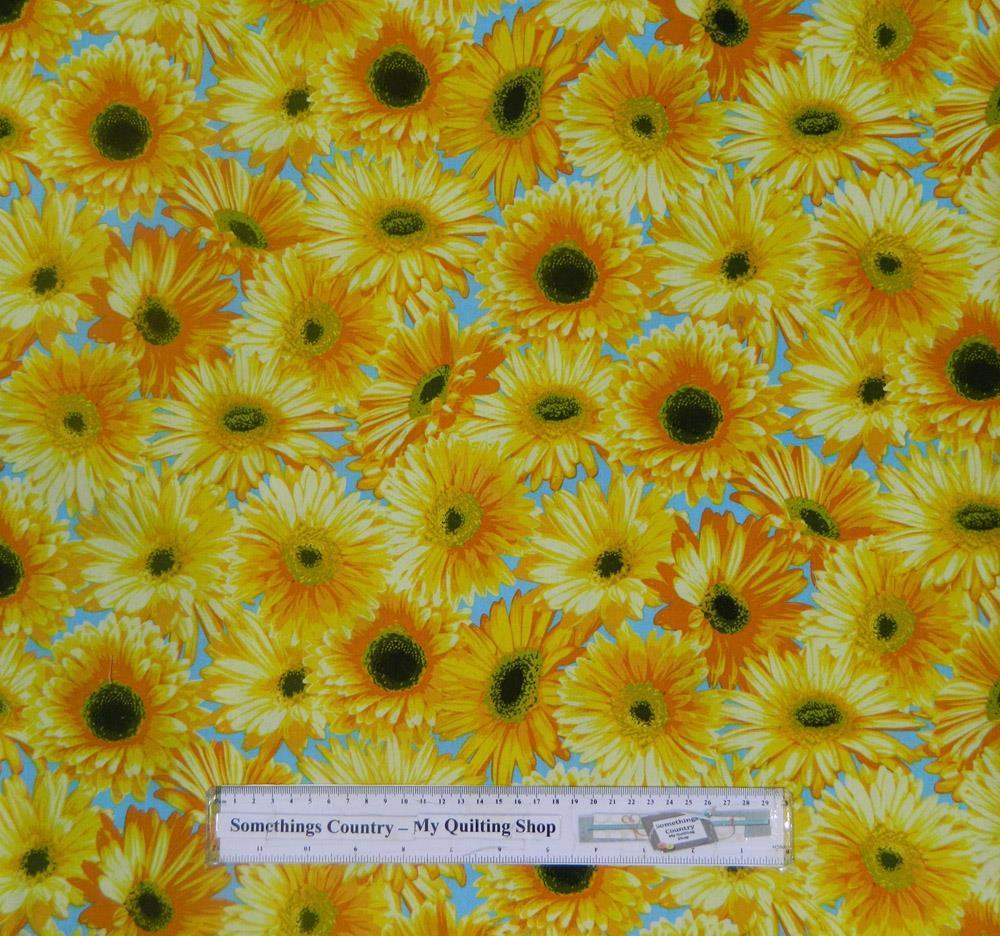 Country Patchwork Quilting Cotton Fabric Sunflowery Spring