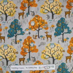 Country-Patchwork-Quilting-Cutre-Critters-Grey-Cotton-Sewing-50x55-FQ-New-161770364291