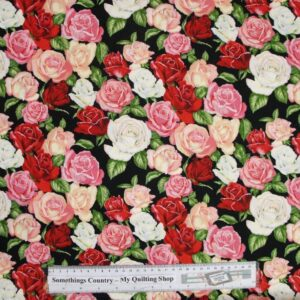 Country-Patchwork-Quilting-Fabric-Allover-Sewing-50x55cm-Mixed-Roses-Cotton-New-161799908734