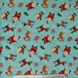 Country-Patchwork-Quilting-Fabric-AlloverSewing-50x55cm-Christmas-Bundle-Up-Aqua-111749280915