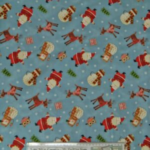 Country-Patchwork-Quilting-Fabric-AlloverSewing-50x55cm-Christmas-Bundle-Up-Blue-161800958973